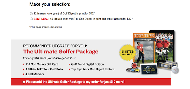 Online Subscription Page Golf Digest