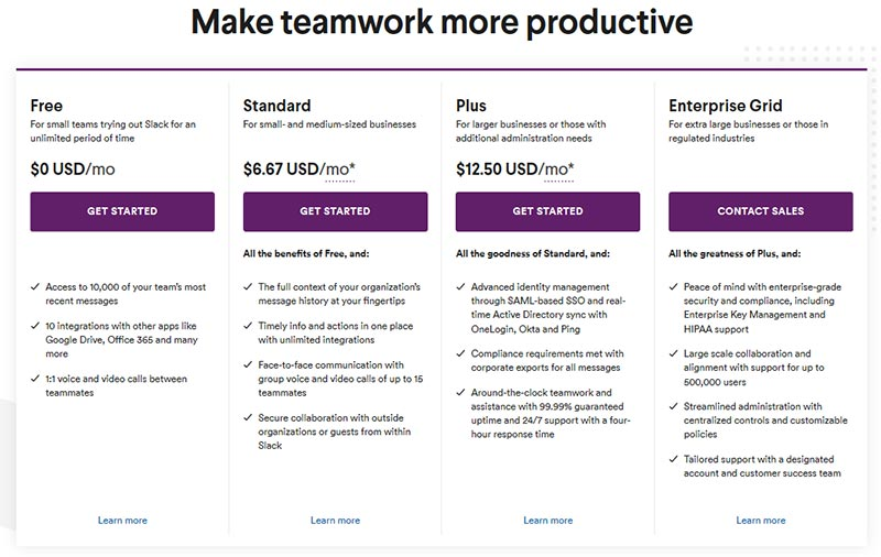 saas slack hides enterprise pricing plan