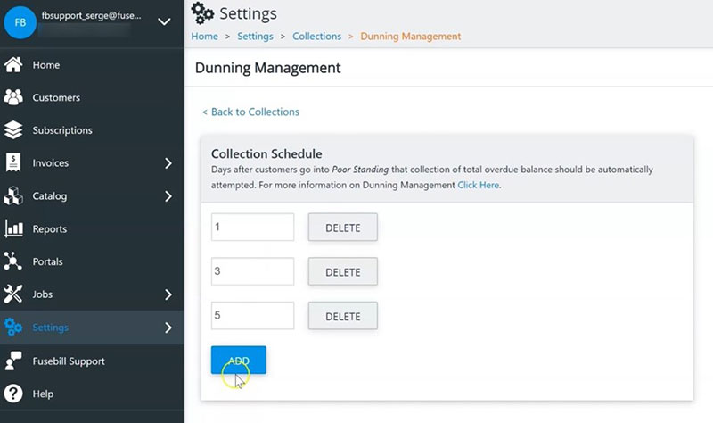 Dunning management collection schedule - Fusebill