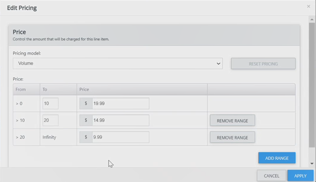 Fusebill automated billing UI for pricing model customization